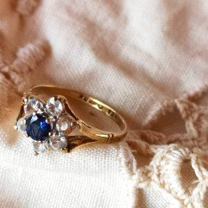 טבעת זהב פרח ספיר