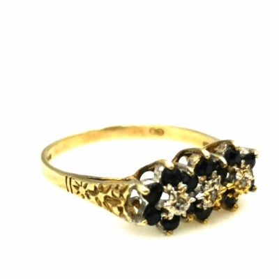 טבעת טריו פרחי ספיר