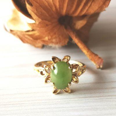 טבעת פרח הג'ייד